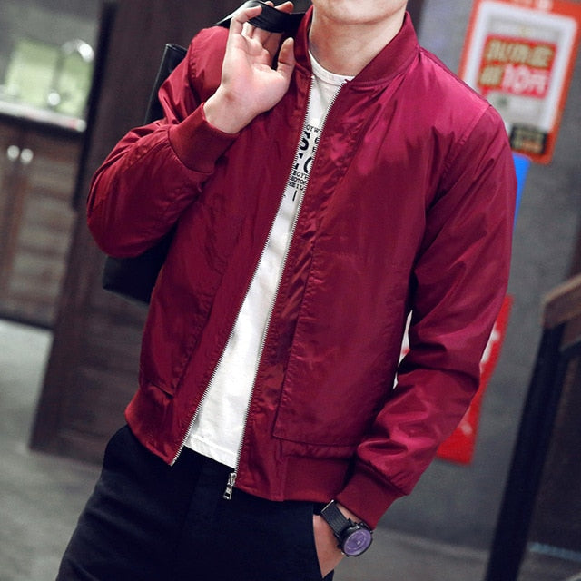 Mens Baseball Thin Slim Fit Solid Windbreaker Bomber Jacket