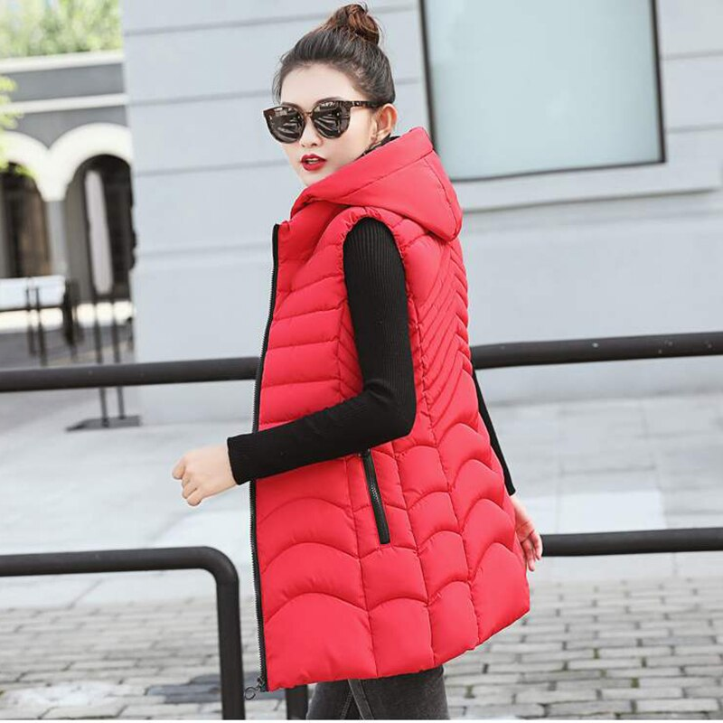 Women Winter Plus Size Hooded Sleeveless Slim Vest Coat - CTHOPER