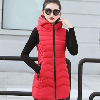 Women Winter Plus Size Hooded Sleeveless Slim Vest Coat