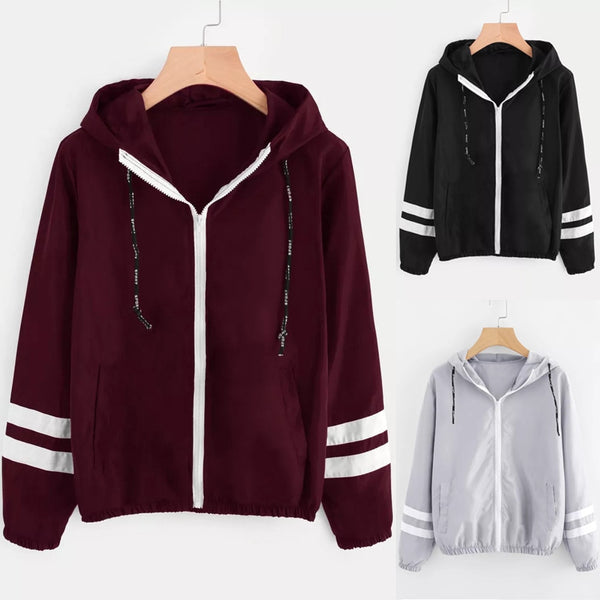 Women Long Sleeve Hooded Zipper Pockets Windbreaker Jacket - CTHOPER