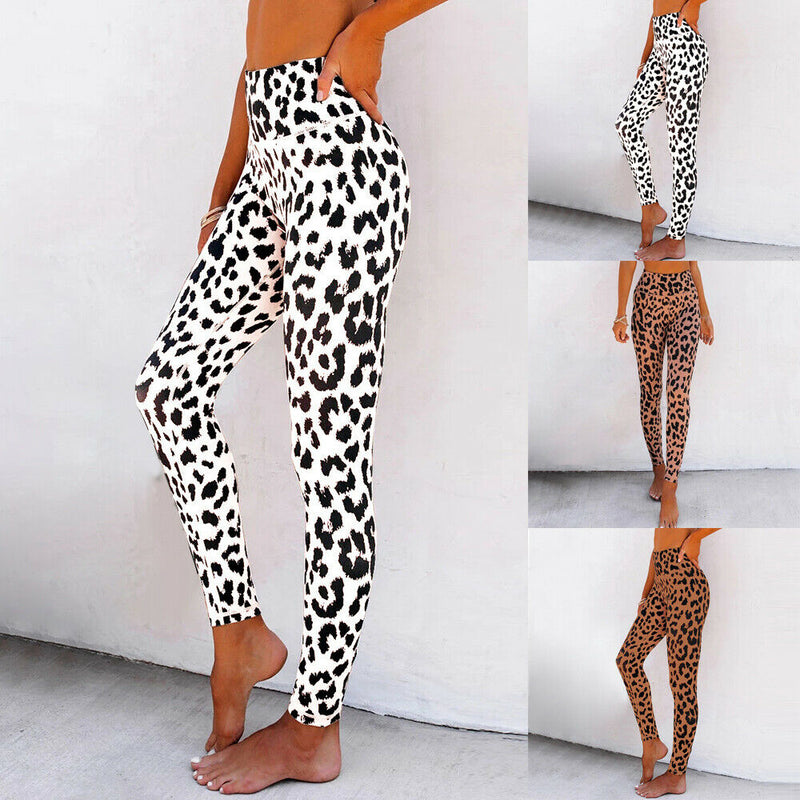 Womens Casual Leopard Print Stretch Gym Sports Leggings Pencil Pants Trousers