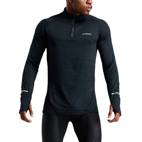 Men's Zipper Long Sleeve Compression T Shirts - CTHOPER