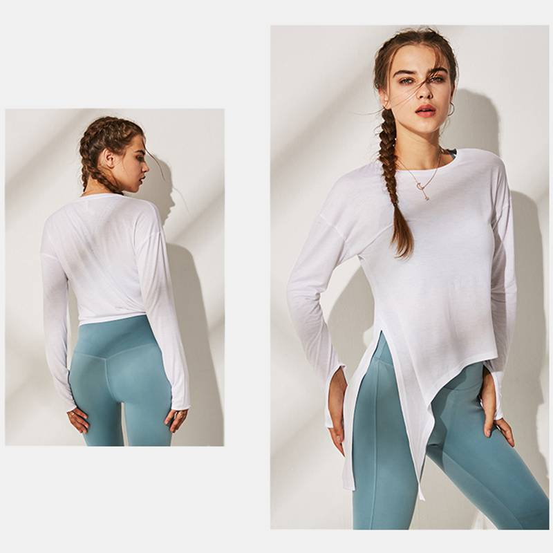 Women's Long Sleeve Side-Tie T Shirts - CTHOPER