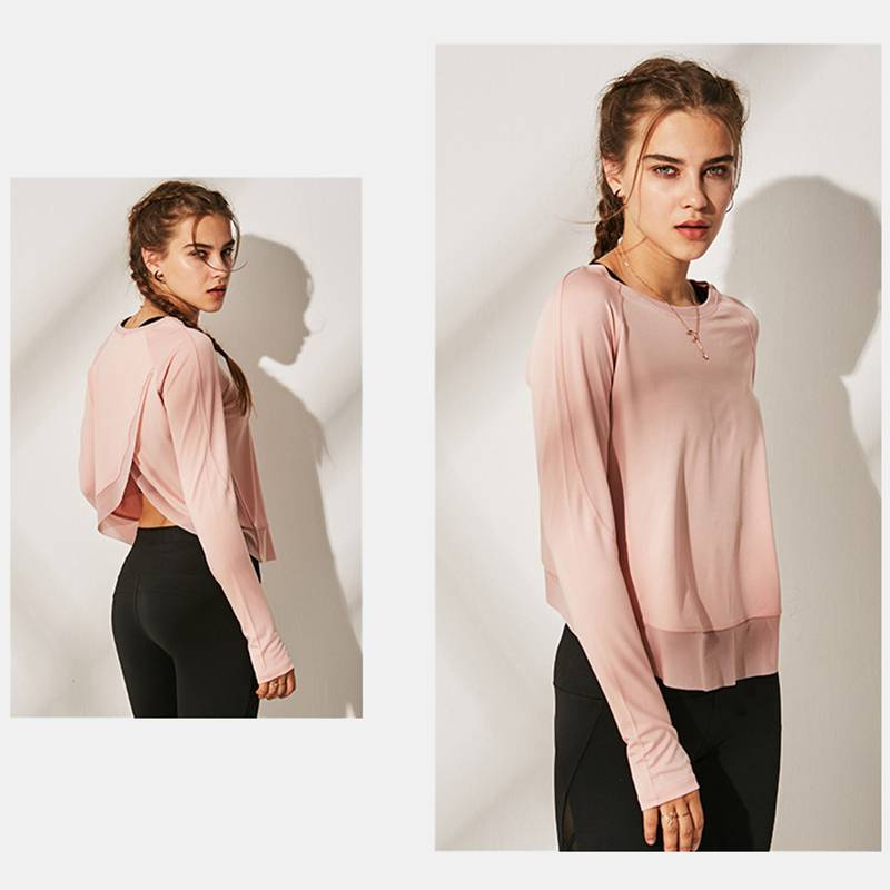 Women's Long Sleeved Split Open Back T Shirts - CTHOPER