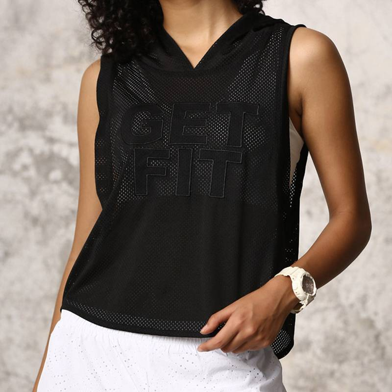 Women's Sleeveless Mesh Tank Top Hoodie - CTHOPER