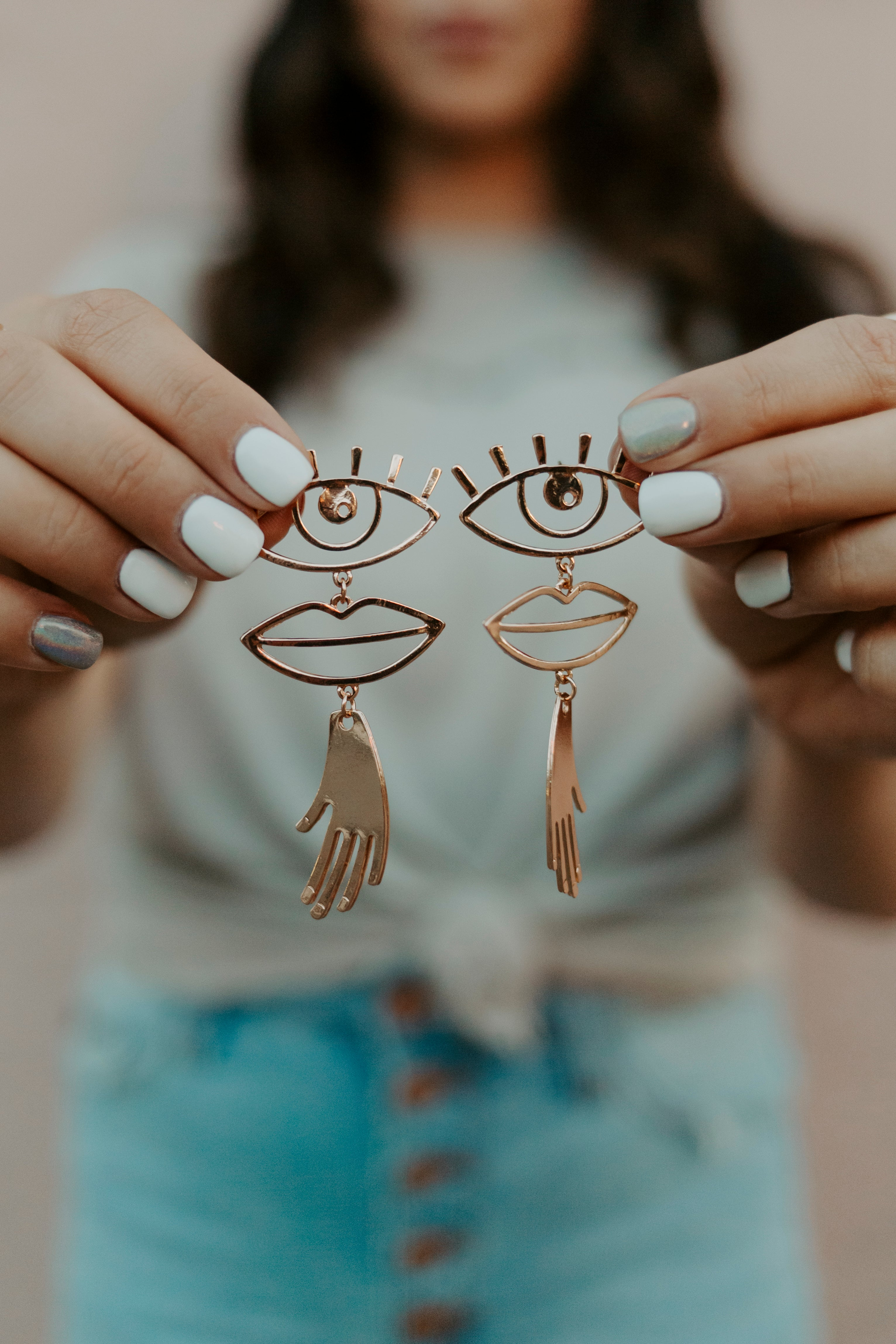 Eye, Lips, & Hands Earrings