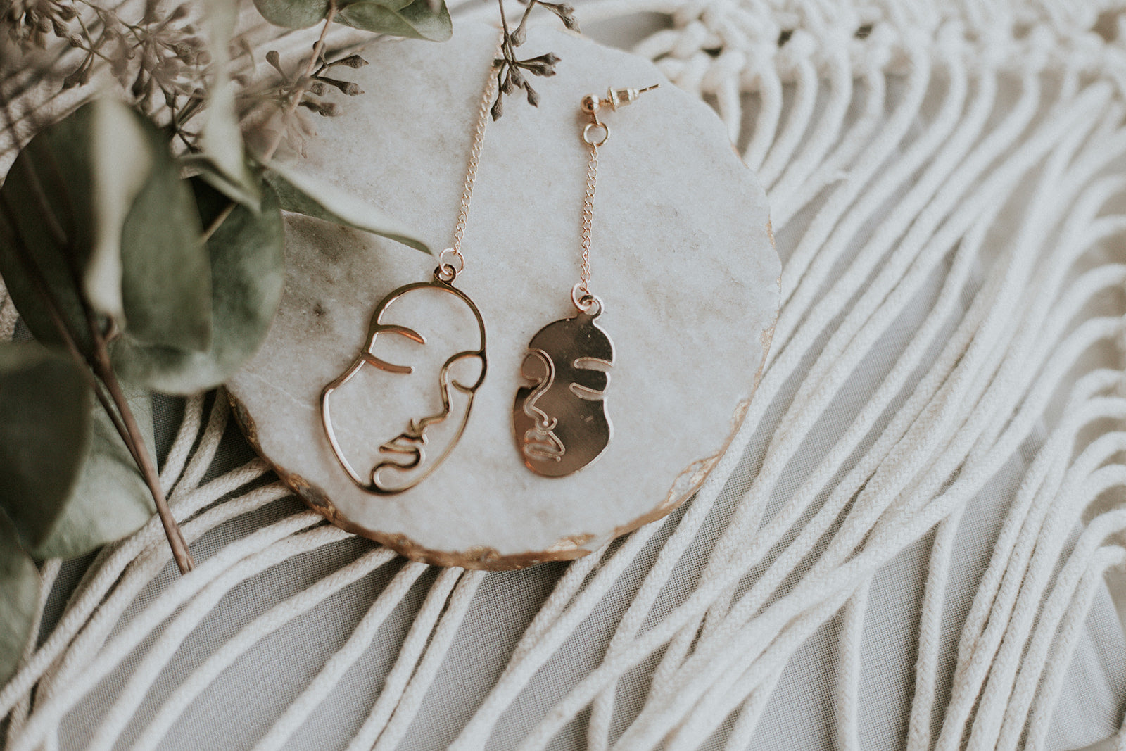 Abstract Face Dangle Earrings