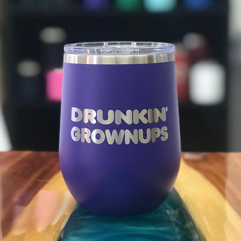 Drunkin' Grownups (Dunkin' Donuts Edition) 12oz Wine Tumbler 🍷-Popp's Trophies