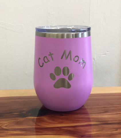 Cat Mom 12oz Wine Tumbler-Popp's Trophies