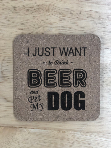 """Drink Beer & Pet My Dog"" Pack of 6 Cork Coasters-Popp's Trophies"