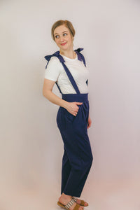 Kimberly Cropped Overall Pants in Navy