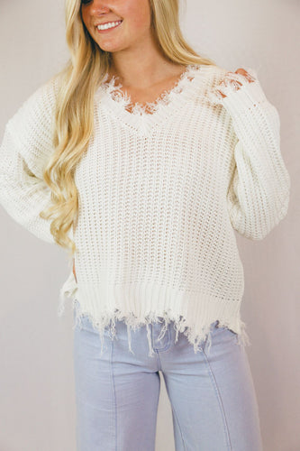 Katie Shark Bite Sweater in Ivory