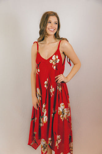Scarlet Flowy Midi Dress
