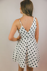 Eve Polka Dotted Flare Mini Dress