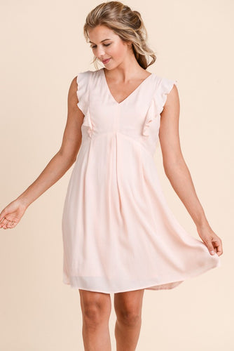 Delphine Flutter Sleeve Dress in Blush