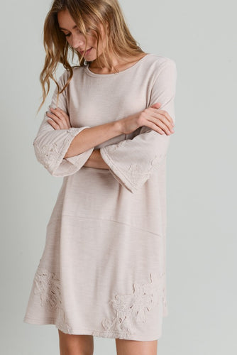 Charlotte Knit Dress with Crochet Trim