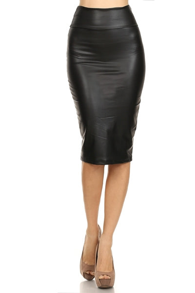Aria Faux Leather Pencil Skirt in Black