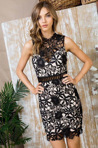 Serafina Lace Overlay Dress