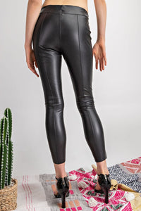 Stretch Faux Leather Fitted Pants