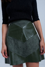 Load image into Gallery viewer, Fiona Vegan Leather and Suede Chevron Skater Skirt