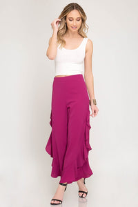 Ginger Ruffled Pants in Magenta