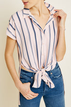 Load image into Gallery viewer, Georgie Striped Tie-Front Top