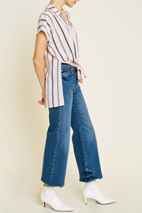Georgie Striped Tie-Front Top