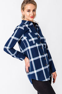 Briar Navy Plaid Button Up Top