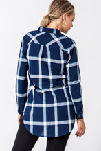 Load image into Gallery viewer, Briar Navy Plaid Button Up Top