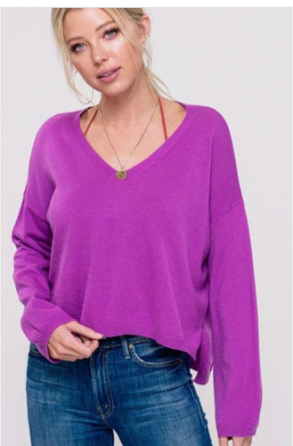 Josey Luxe Sweater in Magenta