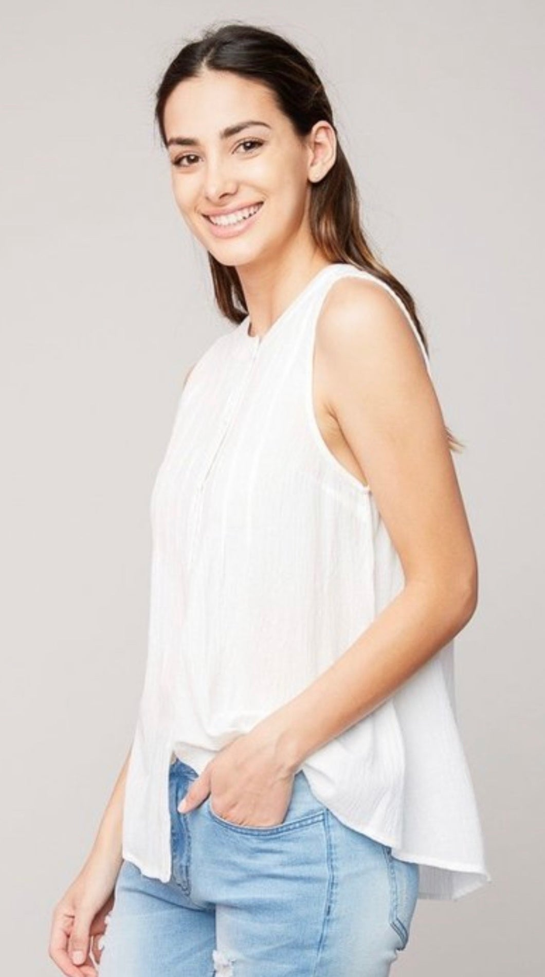 Ophelia White Sleeveless Top