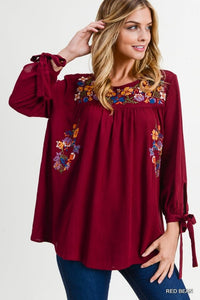 Maple Embroidered Top