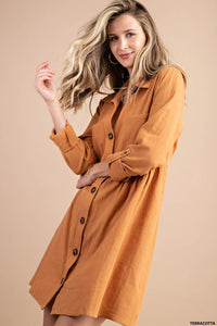 India Button Down Shirt Dress