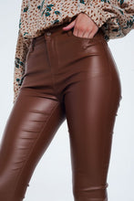 Load image into Gallery viewer, Q2 Brown Vegan Leather Skinny Pants