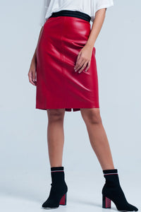 Sara Vegan Leather Pencil Skirt in Red