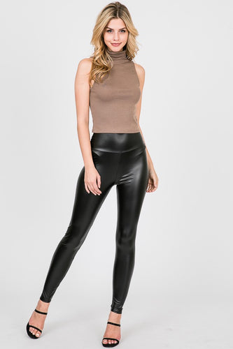 Fawn High-Waisted Faux Leather Leggings