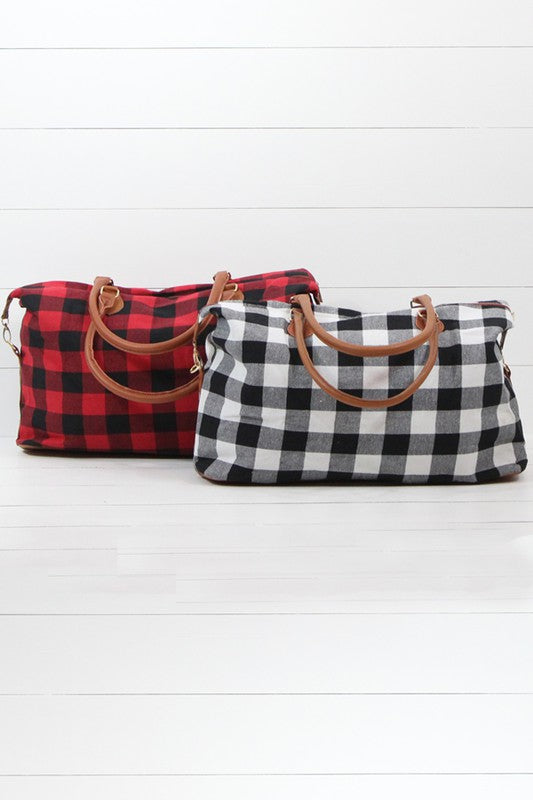 Buffalo Plaid Weekender Tote in White