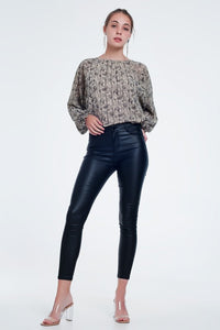 Q2 Black Vegan Leather Pants
