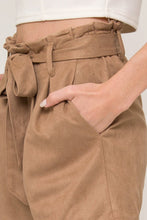Load image into Gallery viewer, Tan Vegan Suede Paper bag Shorts