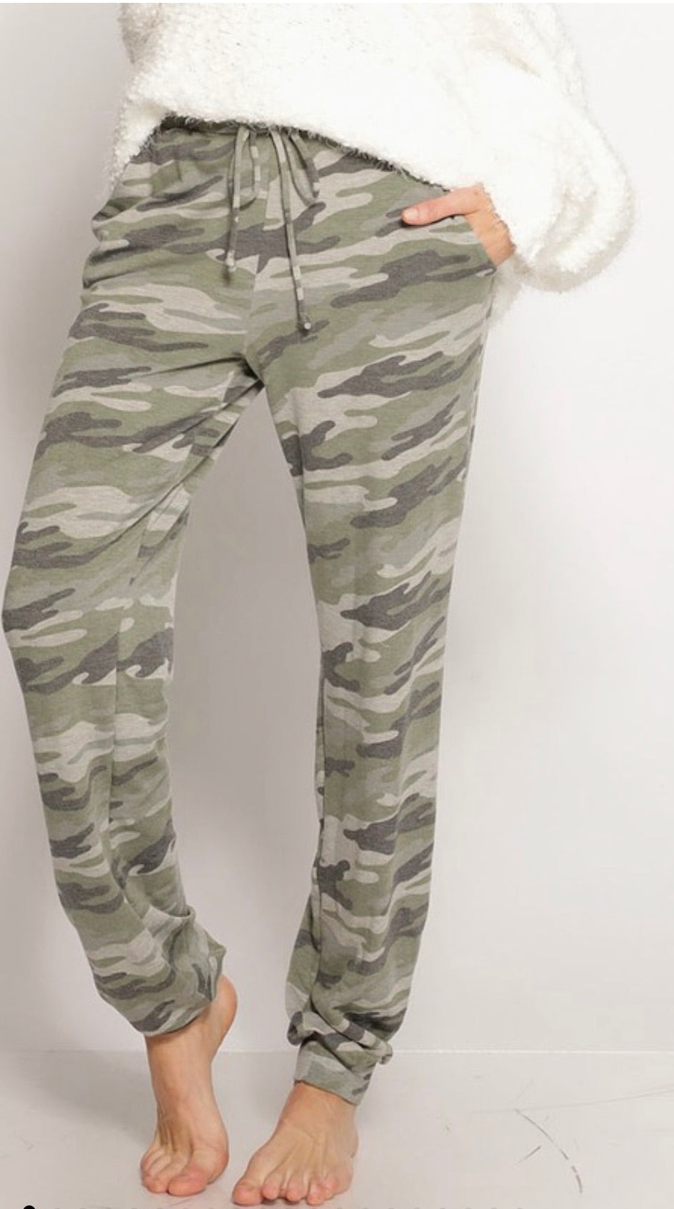 Camo Print French Terry Joggers