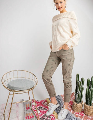 Easel Star Print Pants