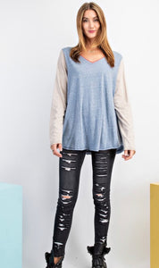 Chambray Blue V-Neck Slub