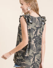 Load image into Gallery viewer, Camo and Ruffles Top