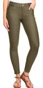 Yelete Jeggings in Olive Green