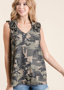 Camo and Ruffles Top