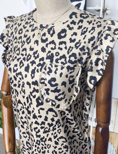 Little Leopard Ruffle Top