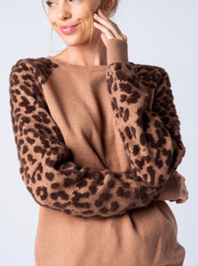 Chasitie Leopard Sleeve Sweater