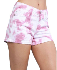 Judy Blue Blush Tie-Dye Shorts
