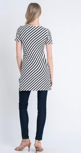 Ivory and Navy Striped Tunic