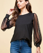 Load image into Gallery viewer, Dot Dot Black Long Sleeve Top